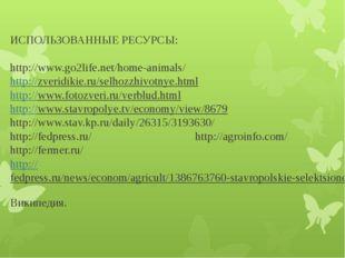 ИСПОЛЬЗОВАННЫЕ РЕСУРСЫ: http://www.go2life.net/home-animals/ http://zveridik
