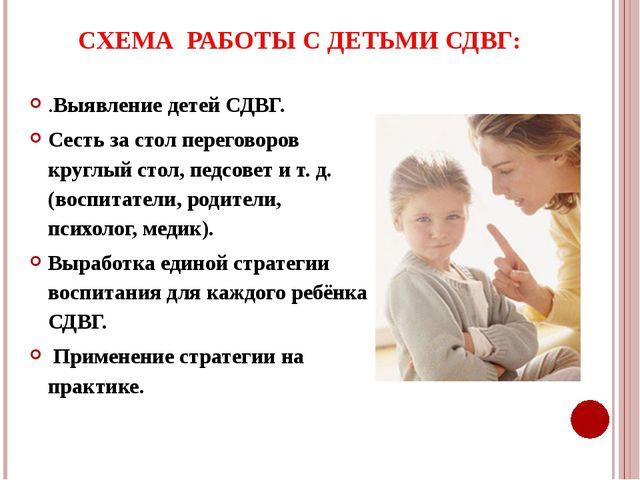 СХЕМА РАБОТЫ С ДЕТЬМИ СДВГ: .Выявление детей СДВГ. Сесть за стол переговоров...