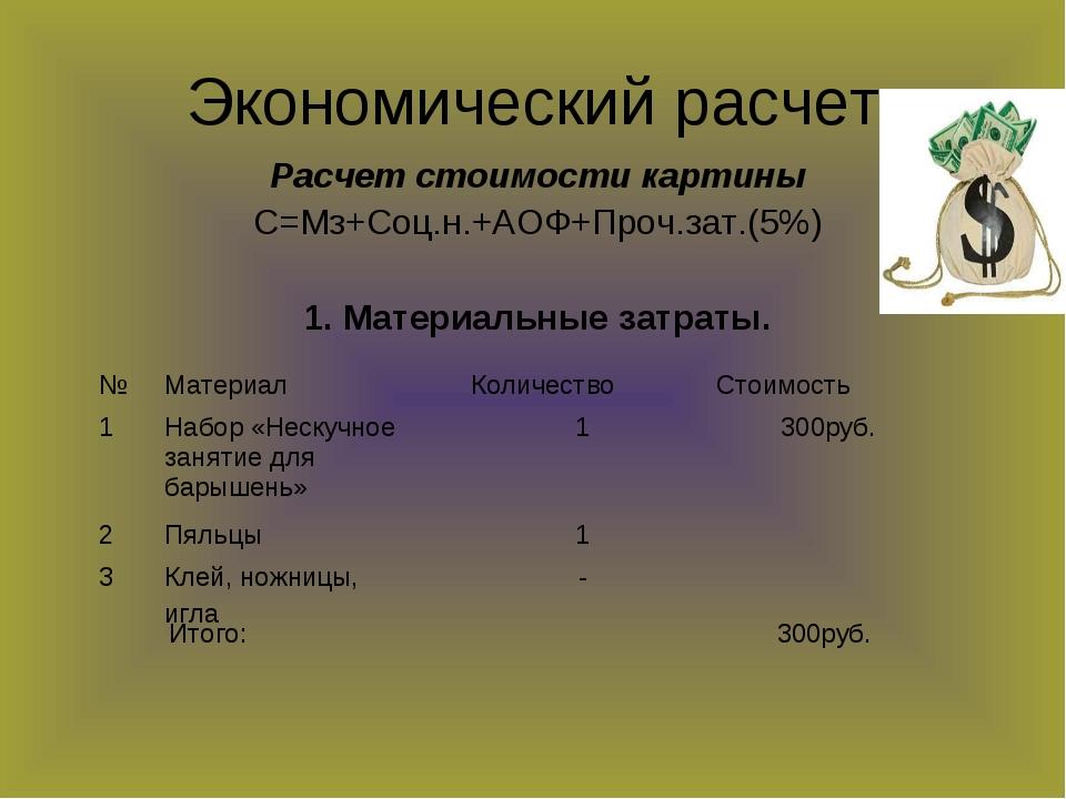 Экономический расчет Расчет стоимости картины С=Мз+Соц.н.+АОФ+Проч.зат.(5%) 1...