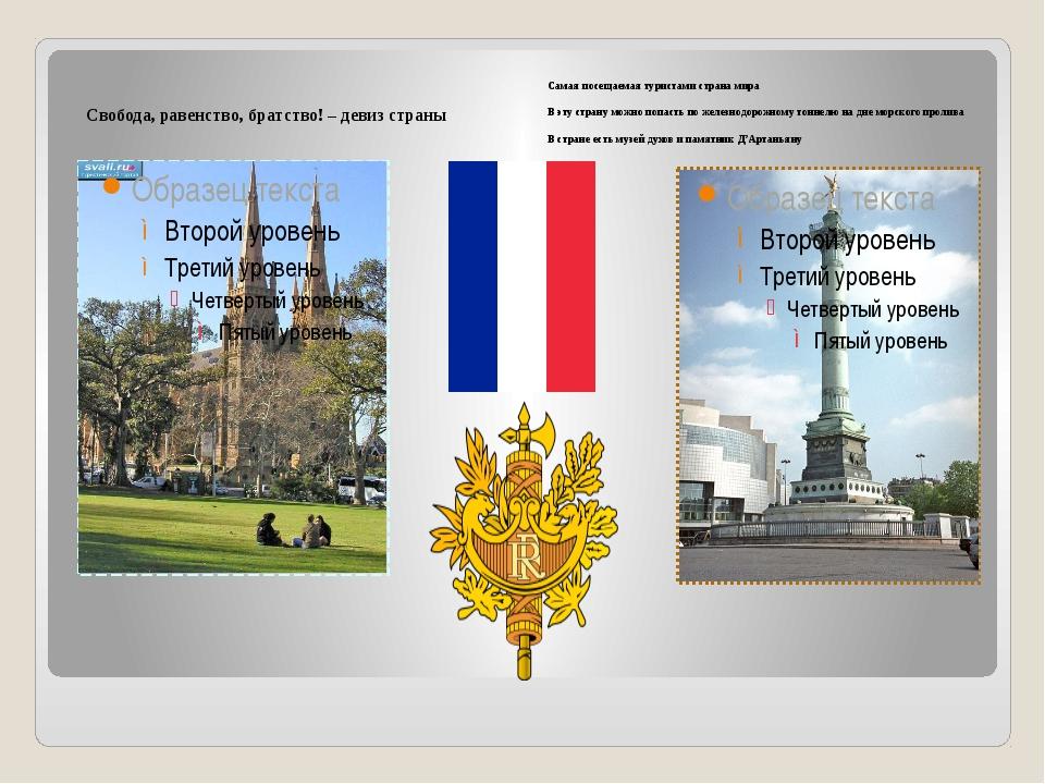 Свобода, равенство, братство! – девиз страны Самая посещаемая туристами стра...