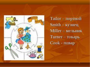 Tailor – портной Smith – кузнец Miller – мельник Turner – токарь Cook - повар