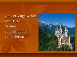 von der Vogelweide von Berne Bremer von Richthofen von Feierbach
