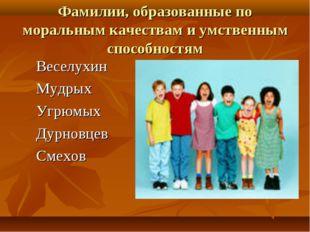 Фамилии, образованные по моральным качествам и умственным способностям Веселу