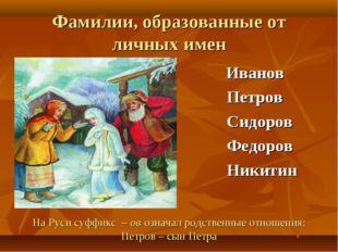 Фамилии, образованные от личных имен Иванов Петров Сидоров Федоров Никитин На
