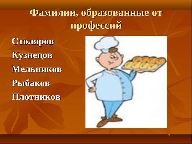 Фамилии, образованные от профессий Столяров Кузнецов Мельников Рыбаков Плотни...