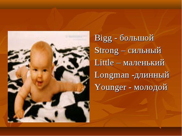 Bigg - большой Strong – сильный Little – маленький Longman -длинный Younger -...