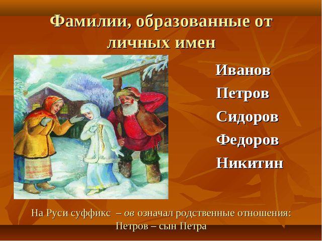 Фамилии, образованные от личных имен Иванов Петров Сидоров Федоров Никитин На...