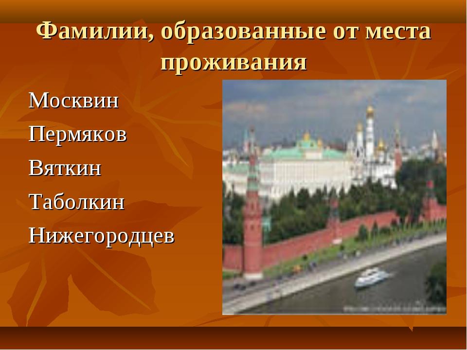 Фамилии, образованные от места проживания Москвин Пермяков Вяткин Таболкин Ни...