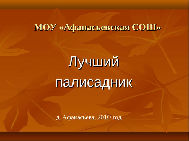 МОУ «Афанасьевская СОШ» Лучший палисадник д. Афанасьева, 2010 год
