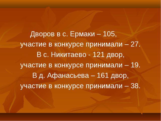 Дворов в с. Ермаки – 105, участие в конкурсе принимали – 27. В с. Никитаево -...