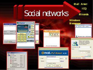 Social networks ICQ Mail Агент Miranda Windows Messenger