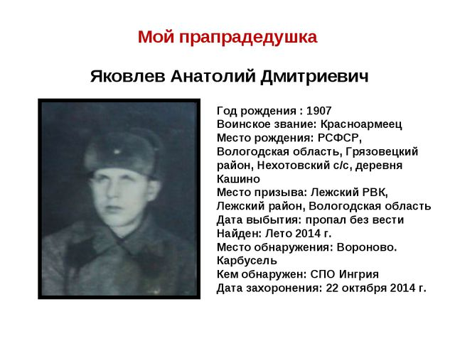 Мой прапрадедушка Яковлев Анатолий Дмитриевич Год рождения : 1907 Воинское зв...