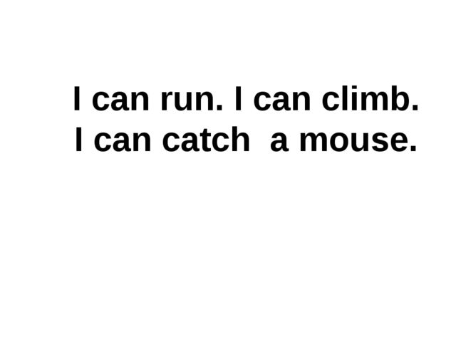 I can run. I can climb. I can catch a mouse.