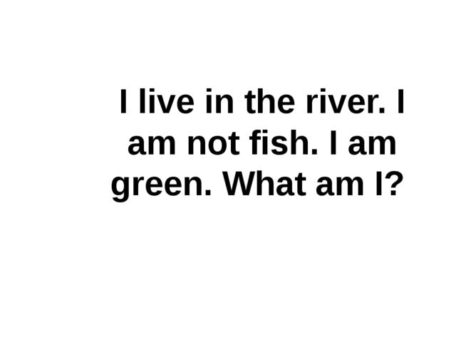 I live in the river. I am not fish. I am green. What am I?