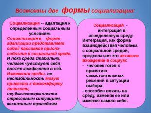 Социализация -- адаптация к определенным социальным условиям. Социализация в