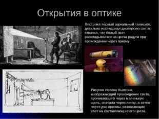 Открытия в оптике Рисунок Исаака Ньютона, изображающий прохождение света, про