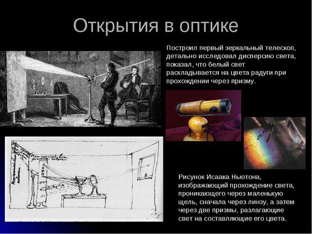 Открытия в оптике Рисунок Исаака Ньютона, изображающий прохождение света, про...