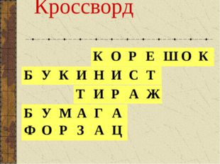 Кроссворд КОРЕШОК ТИРАЖ БУМАГА ФОРЗАЦ