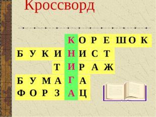 Кроссворд КОРЕШОК ТИРАЖ БУМАГА ФОРЗАЦ К Н И Г А