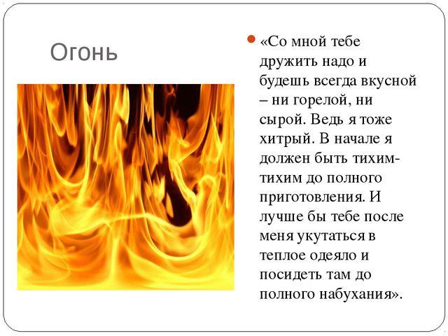 Огонь «Со мной тебе дружить надо и будешь всегда вкусной – ни горелой, ни сыр...