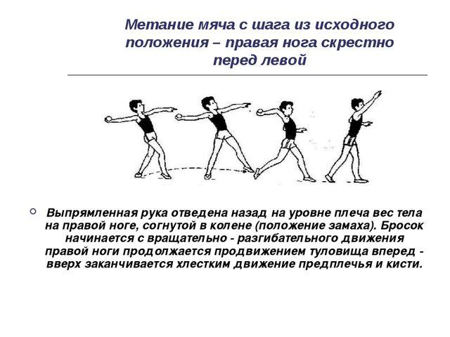 Метание мяча с шага из исходного положения – правая нога скрестно перед левой...
