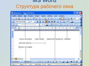 MS Word Структура рабочего окна программы