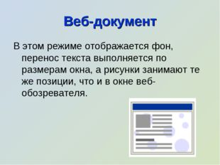 Веб-документ В этом режиме отображается фон, перенос текста выполняется по ра