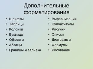 Дополнительные форматирования Шрифты Таблицы Колонки Буквица Объекты Абзацы Г