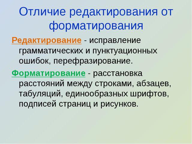Отличие редактирования от форматирования Редактирование - исправление граммат...