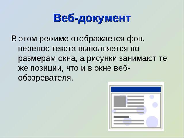 Веб-документ В этом режиме отображается фон, перенос текста выполняется по ра...