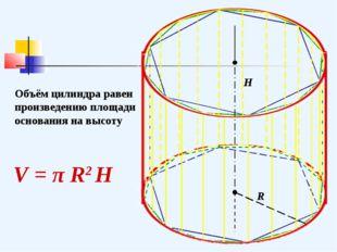 R H Объём цилиндра равен произведению площади основания на высоту V = π R2 H