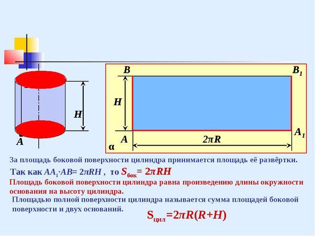 В А R В А А1 В1 2πR H H За площадь боковой поверхности цилиндра принимается п...