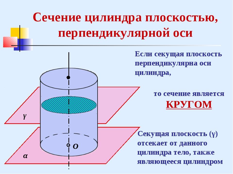 С γ α Сечение цилиндра плоскостью, перпендикулярной оси Если секущая плоскост...