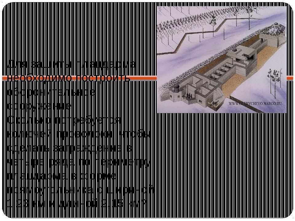 Для защиты плацдарма необходимо построить оборонительное сооружение. Сколько...