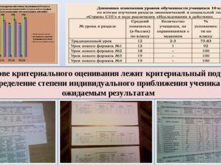 В основе критериального оценивания лежит критериальный подход – определение с