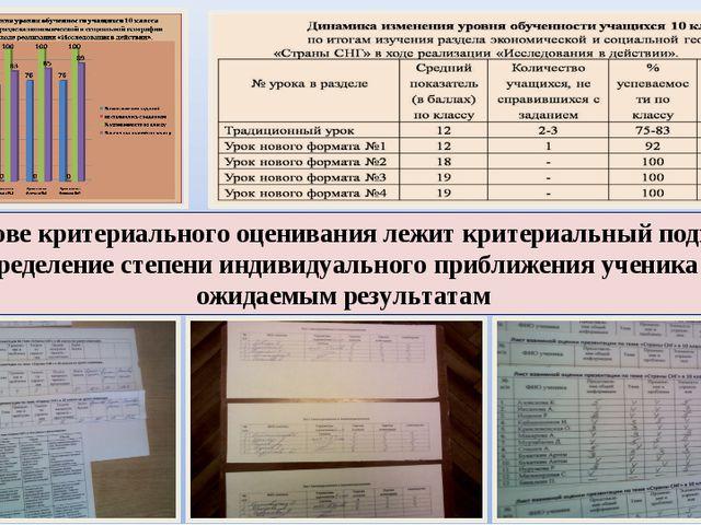 В основе критериального оценивания лежит критериальный подход – определение с...