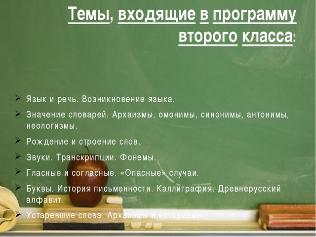 Темы, входящие в программу второго класса: Язык и речь. Возникновение языка....