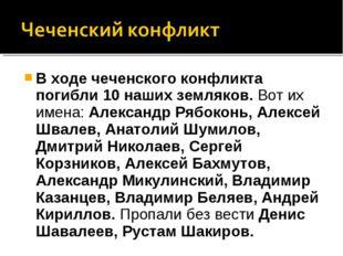 В ходе чеченского конфликта погибли 10 наших земляков. Вот их имена: Александ