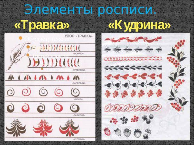 «Травка» «Кудрина» Элементы росписи.