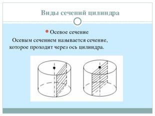 Виды сечений цилиндра Осевое сечение Осевым сечением называется сечение, кото