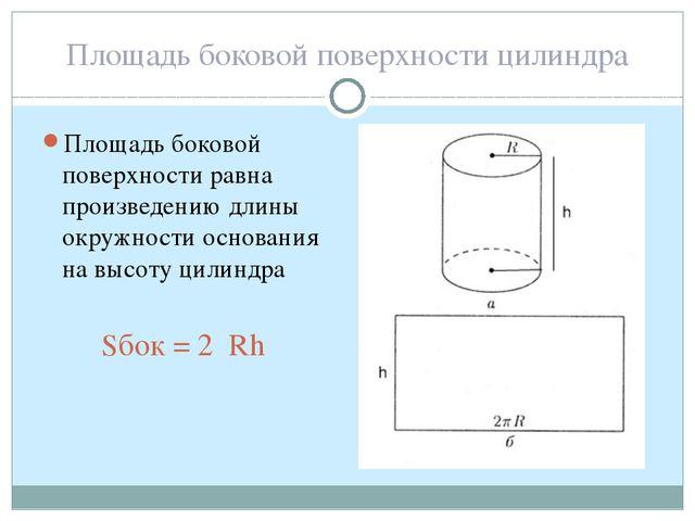 Площадь боковой поверхности цилиндра Площадь боковой поверхности равна произв...