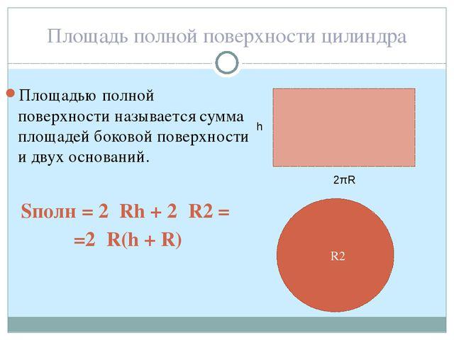 Площадь полной поверхности цилиндра Площадью полной поверхности называется су...
