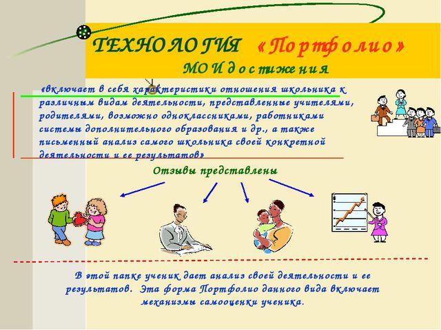 ТЕХНОЛОГИЯ «Портфолио» творческий и учебный процесс каждого ученика должен фи...