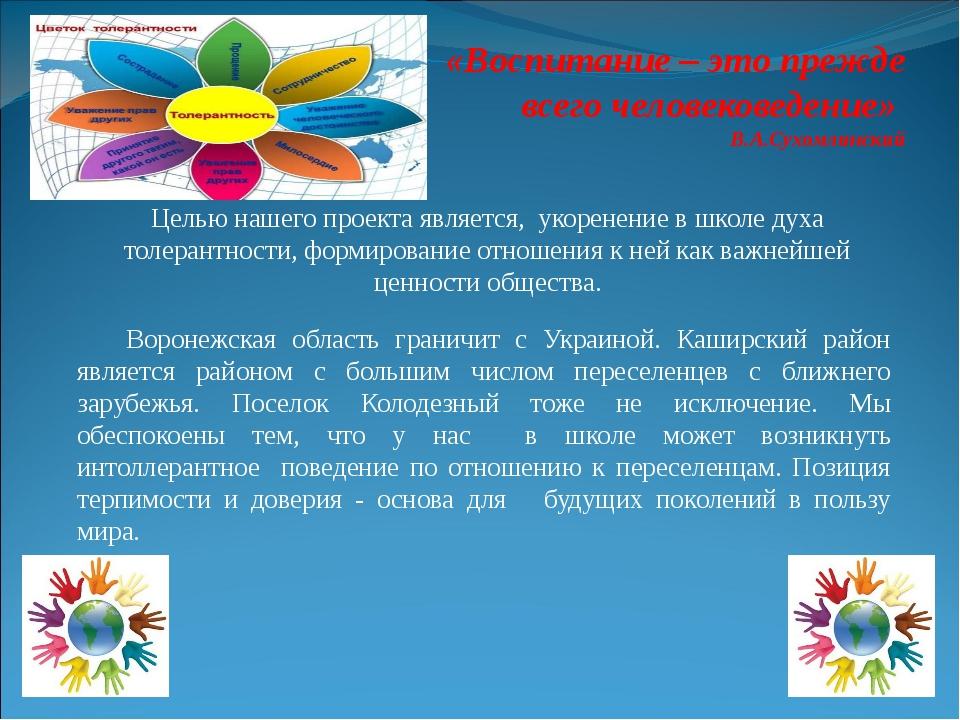 Целью нашего проекта является, укоренение в школе духа толерантности, формиро...