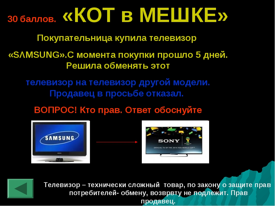 30 баллов. «КОТ в МЕШКЕ» Покупательница купила телевизор «SΛMSUNG».С момента...