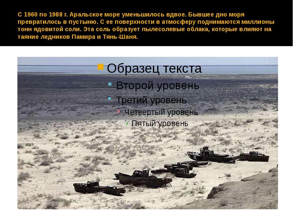 С 1960 по 1988 г. Аральское море уменьшилось вдвое. Бывшее дно моря превратил...