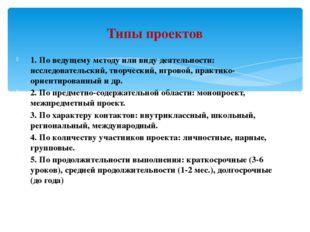 1. По ведущему методу или виду деятельности: исследовательский, творческий, и