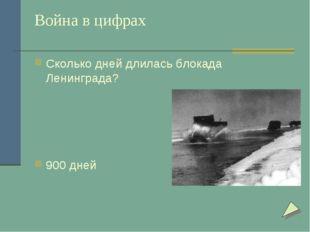 Война в цифрах Сколько дней длилась блокада Ленинграда? 900 дней