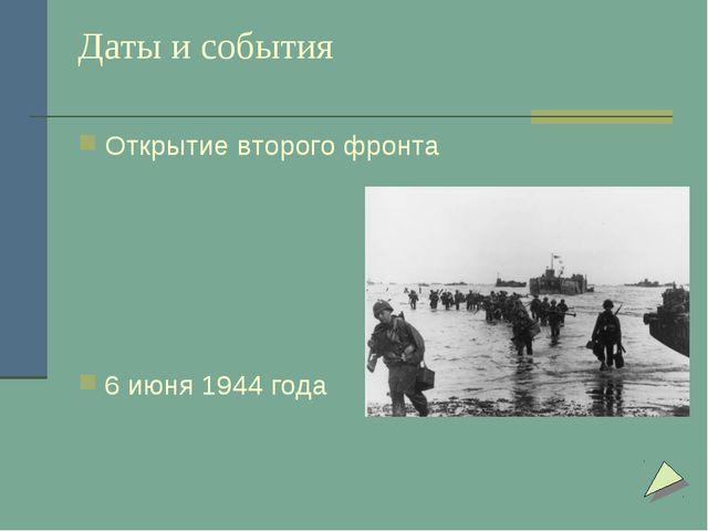 Даты и события Открытие второго фронта 6 июня 1944 года