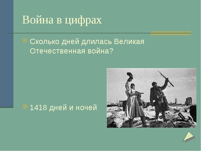 Война в цифрах Сколько дней длилась Великая Отечественная война? 1418 дней и...